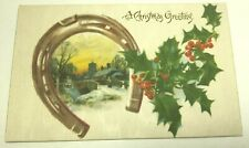 VINTAGE CHRISTMAS POSTCARD SILK CARD, HORSE SHOE SCENE, SNOW & HOLLY  UNPOSTED