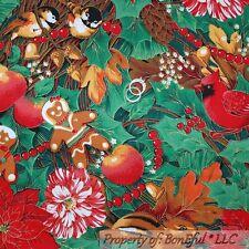 BonEful Fabric FQ Xmas White Red Flower Bird Cardinal Ginger*Bread Man Cookie US
