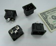 Lot 4 P575 Power Entry Receptacles, D-Plug Cord Snap In BS4491 15A 125V Terminal