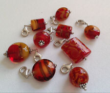 Lela Belle Hand Blown Murano Glass Beads - Set of 9 - Shades of Red & Gold A4