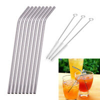 8Pcs Stainless Steel Metal Drinking Straw Reusable Straws + 3pcs Cleaner Brush