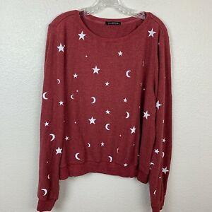 Wildfox Sweatshirt Large Moon Stars Red White Long Sleeve Pullover Jumper USA