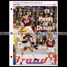 #014.02 Match METZ-SOCHAUX 1988 ALBERT CARTIER & STEPHANE PAILLE Fiche Football