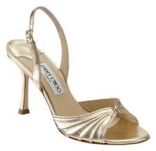 587c4e44be11 Jimmy Choo Gold King Slingback Sandal Open Toe Metallic Heel Leather 39 9  Italy