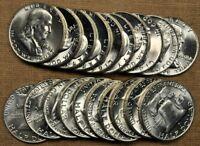 Original BU Roll of 20 1958-D Franklin Half Dollars