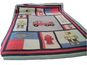 Children's Colorful Fire Engine Scene 2 Full Bed Quilts 1Sheet, 2 Cases, 1 Sham