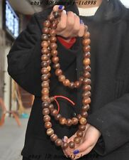 """36"""" Collect Rare Chinese Old Ox horn Carved 108 grain beads Pray Bead Necklaces"""