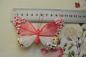 RED & WHITE Feather BUTTERFLY 11x7cm&2.5cm Squeeze Clip-Touch Of Nature