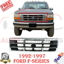 Front Grille Chrome Shell & Primed Insert Plastic For 1992-1997 Ford F-Series