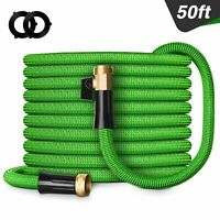 Double Latex Expandable Flexible Garden Hose with 3/4 Brass Connector 50FT Green