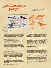 Marshall Islands 225a on Souvenir Page, Majuro cancel - Migrant Birds