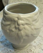 Early McCoy? Unsigned White Matte 3 Footed Planter/Jardiniere,Leaves & Berries