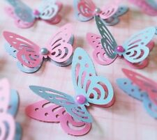 20x Princess Party Table Decorations 3D paper butterflies pink and blue