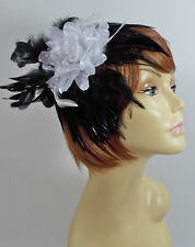 BLACK & WHITE FEATHER & FLOWER HAIR CLIP FASCINATOR FOR WEDDINGS PROM OR DANCE