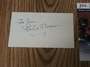 PAUL BROWN CLEVELAND BROWNS HOF SIGNED AUTOGRAPHED INDEX CARD 3X5