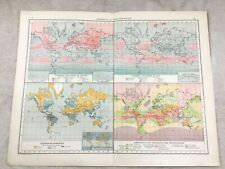 1899 Antique World Map Isotherm Isobar Meteorology Original 19th Century German