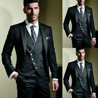 Classic Black Mens 3 Piece Suit Formal Wedding Groom Tuxedos Tailored Fit Blazer