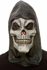 Adults Skull Hooded Mask Mens Ladies Skeleton Halloween Fancy Dress Accessory