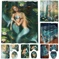 4PCS Blue Mermaid Printed Bathroom Mat Set Shower Curtain Bath Decor Accessories