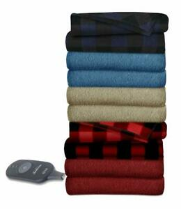 Sunbeam Heated Throw Blanket | Fleece, 3 Heat Settings | Assorted Colors