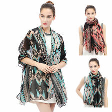 SCARF SHAWL WRAP WITH AZTEC TRIBAL PATTERN GIFT FOR LADIES WOMEN