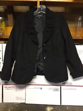 Kasper Solid Black Women's Size 2P Petite Striped Three Button Blazer FREE SHIP