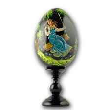 Girl on a Swing Collectible Wooden Russian Easter Egg 6.25 Inches