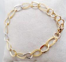 B SUPERBE BRACELET OR MASSIF BLANC JAUNE FEMME 4,8 GRAMS 18 CARATS GOLD ARMBAND