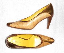 6779ea759a7e62 PIAZZA MARCONI escarpins cuir bicolore camel et doré P 37½ TBE