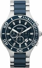 DKNY DRESS CHRONOGRAPH DATE BLUE DIAL CERAMIC & ST.STEEL MEN'S WATCH NY1498 NEW
