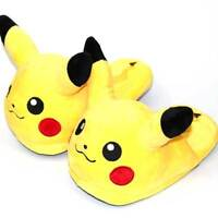 Anime Pokemon Pikachu Winter Slippers Soft Bottom Warm Fluffy Home Shoes Sandals