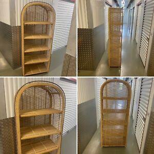 🌟Retro Vintage Tiki Boho Rattan Wicker Cane Shelf Units Shelves Tall Bookcase