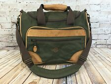 LL BEAN Brown Leather & Olive Green Canvas Overnight Carry On Travel Bag Luggage