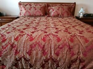 Elegant CROSCILL Burgundy/Gold KING Size Comforter with 2 New PILLOW SHAMS