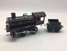 Vintage Germany Tin Clockwork Locomotive And Tender Red And Black