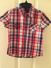 Sergent Major Boys Size 3 Red and Blue Checkered Shirt Victory Racing NWT