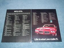 "1972 Pontiac GTO Vintage 2pg Color Ad ""Life Is What You Make It"" Options list"