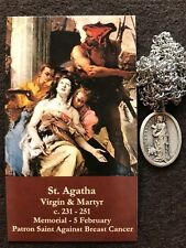 St. Agatha Necklace (patron saint against cancer) with 2 Free Prayer Cards