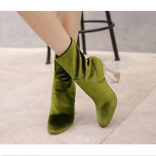 Sexy Womens Ankle Boots HighTransparent Heels Velvet Trendy Boots Shoes Back Zip