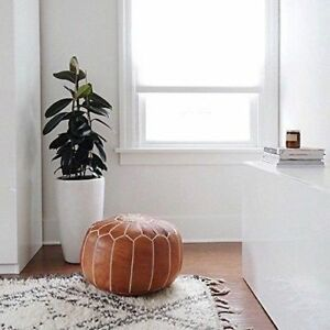 100% Leather Stunning Tan Moroccan Ottoman or Pouf or Pouffe