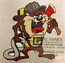 "Firefighter Tasmanian Devil decal, Fire Department, 3.75""   #FD137"