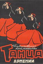 Original Vintage Poster Armenian Dance Russian 1970