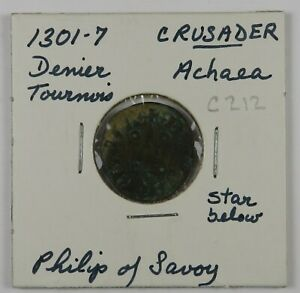 C212 Crusaders, Achaea, Denier Tournois of Philip of Savoy, 1301-7, Star below D