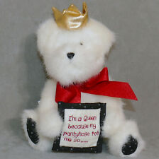 """Plush Stuffed Animal Bear Queenie """" I'm a Queen because my pantyhose tell me so"""