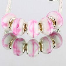 Pink white5pcs MURANO glass bead LAMPWORK For European Charm Bracelet