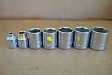 "NEW SK Tools 3/8""-Drive 7-Piece SAE Shallow 6-Point Socket Set 1/4"" - 7/8"""