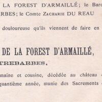 Louise La Forest D'Armaille De Quatrebarbes Angers 1886