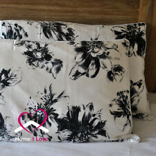 100% Pure Silk Set of 2 Pillowcases White&Black Print Hypoallergenic AntiAgeing