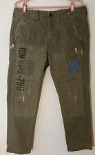 True Religion Jeans Men Size 34 Green Distressed Cotton US Field Pants