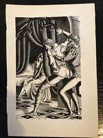 """1932 Original Holzstich von Steele Savage """"False Courtesan"""""""